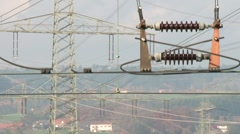 High power pylons 3 Stock Footage