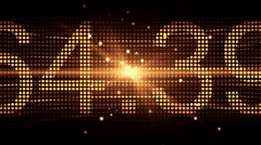 Number Illustrates on Orange LED Screen - stock footage