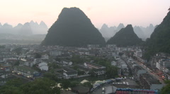 Yangshuo village background mountains panoramic shot - stock footage