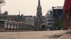 Cars Crossing Bridge in Lille Stock Footage