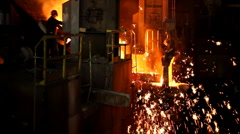 Melting Metal in the Foundry Stock Footage