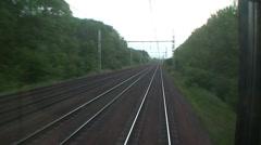 Railway Tracks seen from Train Stock Footage