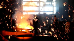 Melting Metal in the Foundry - stock footage