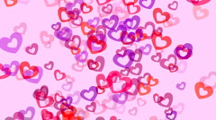 Animation of floating or flying throbbing hearts. Stock Footage