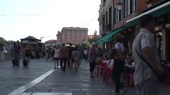 Venice Street and Cafe Stock Footage