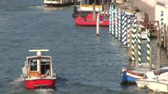 Grand Canal Boat & Mooring Poles Stock Footage