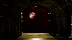Looking through open church doors at timelape full moon Stock Footage