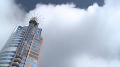 Large tower block with fast moving clouds Stock Footage