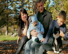 Young Family and cat Stock Footage