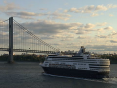 Cruise ship and Verrazano Narrows Bridge NYC Stock Footage