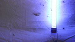 Moth trap, a white sheet with a UV blacklight Stock Footage