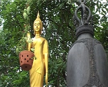 Pu Kao Tong, bell and buddha statue - stock footage