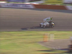 Motorsports, sprint car race, follow single to checker flag Stock Footage