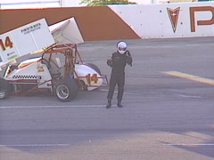 Motorsports, wreck sprint car and one pissed off driver Stock Footage