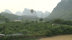 Aerial shot in hot-air balloon China village 3 Stock Footage