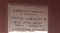 Mozart Plaque on Wall Stock Footage
