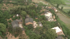 Aerial shot in hot-air balloon China houses Stock Footage