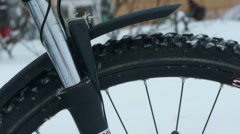 Mountain bike suspension fork winter test Stock Footage