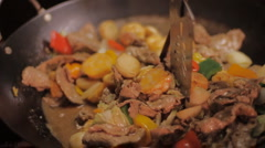 Seafood and beef stir fry Stock Footage