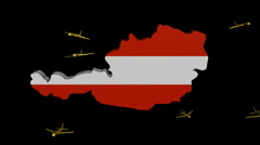 Stock Video Footage of planes departing Austria map flag animation
