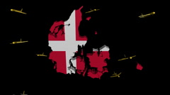 Stock Video Footage of planes departing Denmark map flag animation