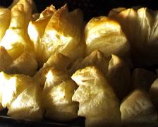 Baking food (bun, noodles) Stock Footage