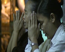 Shwedagon pagoda, praying women - stock footage
