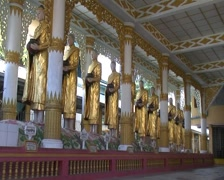 Bago, group of images in monastic - stock footage