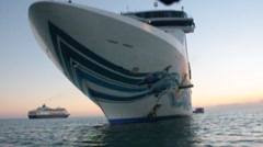 Approaching cruise ship under front of ship Stock Footage