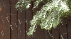 Snowy wooden wall Stock Footage