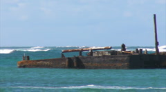 Puerto Rico - HD Sea Barge Ship Wreck 2 Stock Footage