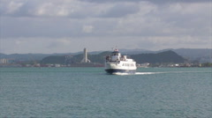 HD Ferry Boat Arriving to Dock Stock Footage