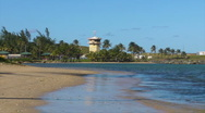 Puerto Rico - HD Harbor Control Tower and Tropical Beach Stock Footage