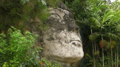 Puerto Rico-Taino Indian Chief Face-Mabodamaca-Stone/Rock Carving/Sculpture Stock Footage