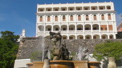 Puerto Rico - HD Paseo de La Princesa Fountain and Las Carmelitas Convent 2 Stock Footage