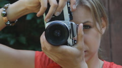 Female photographer. Stock Footage