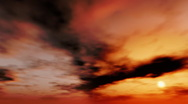 Black clouds on the red sky. Loop Stock Footage