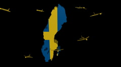 Stock Video Footage of planes departing Sweden map flag