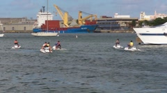 Puerto Rico - People in Jet Ski Marina Cargo Ship 2 HD - stock footage