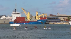 Puerto Rico - People in Jet Ski Marina Cargo Ship 3 HD - stock footage