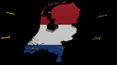 Stock Video Footage of planes departing Netherlands map flag