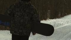 Snowboarder Walking Stock Footage