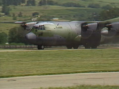 Military, C130 Hercules airplane taxing on summer day Stock Footage