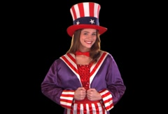 Cute Uncle Sam Girl Stock Footage