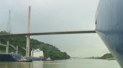 Panama Canal: Ship heading towards Centennial Bridge Stock Footage