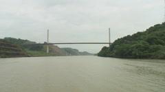 Panama Canal: Cruising toward Puente Centenario Stock Footage