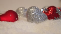 Close up PAN of christmas decoration Stock Footage