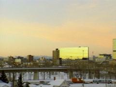 Archival - pan of Calgary skyline winter 1997 Stock Footage
