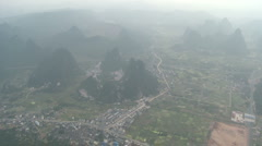 Aerial shot in hot-air balloon China village 1 Stock Footage