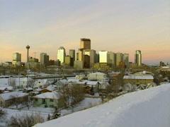 Archival - wide shot Calgary skyline 1997, Pre- Bow Stock Footage